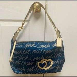 Coach poppy lurex signature script NY purse.